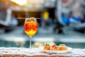 venetian food with aperol spritz