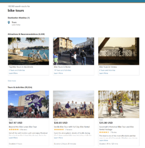 bike tours search results