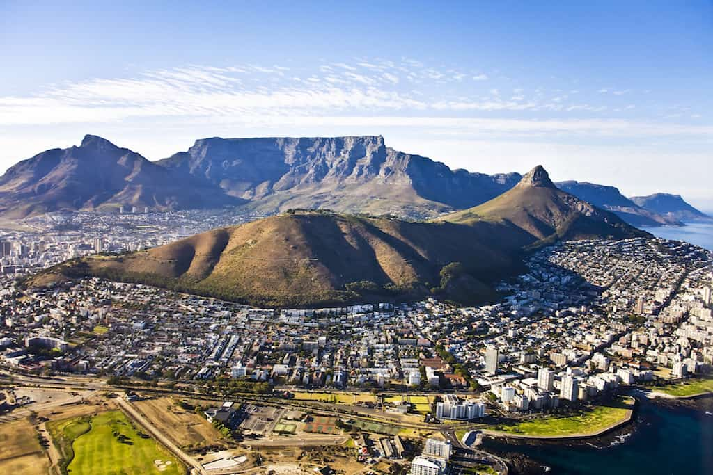 Table Mountain Cape Town aerial, South Africa