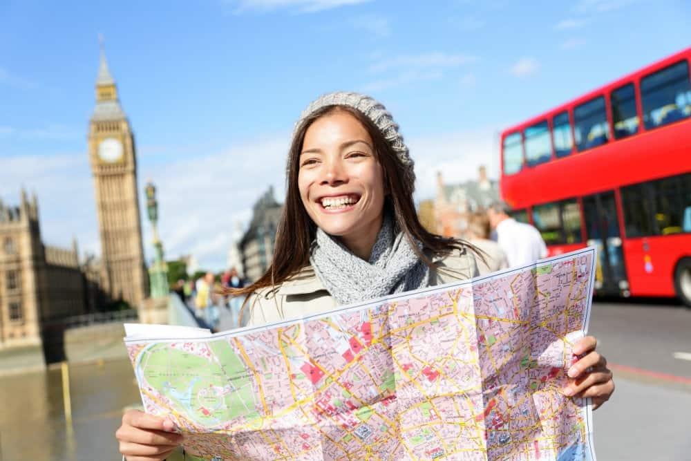 smiling map girl
