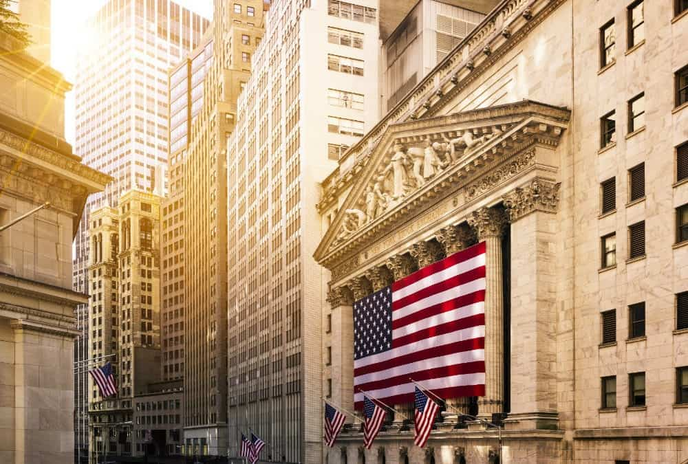 wall street with american flag