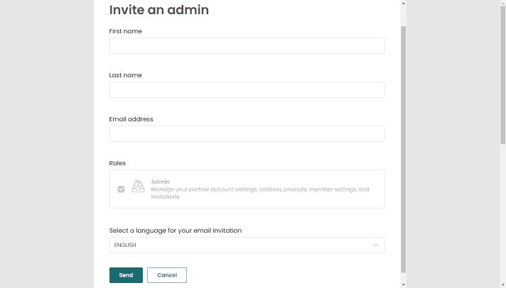 invite admin details