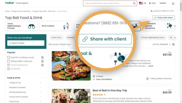 bookable link-share with client-category page-