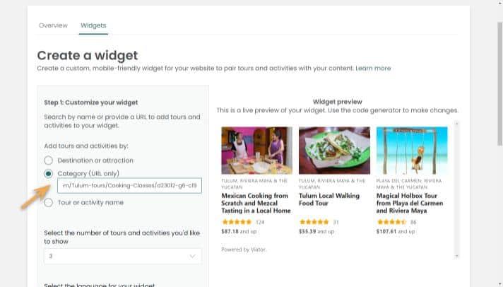 widget builder-category-paste URL